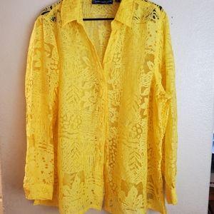 Susan Graver Yellow Lace Floral Button Blouse